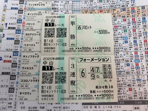 セントライト記念の馬券