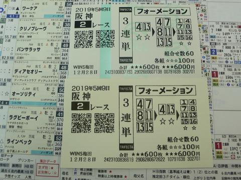 【馬券】5回阪神9日2