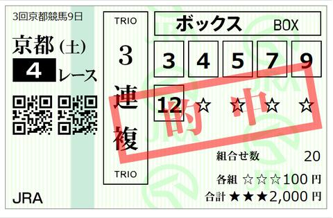 京都4Rの馬券