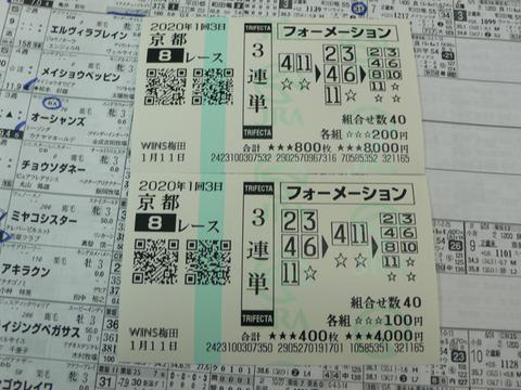 【馬券】1回京都3日8