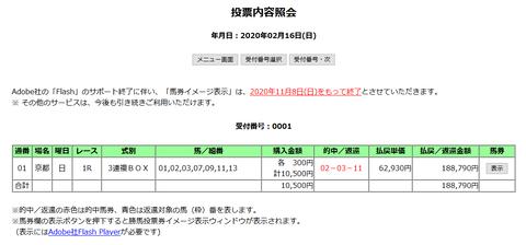 京都1Rの馬券