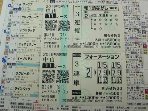 【馬券】5回中山9日11