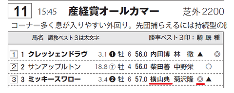 ミッキースワロー(「サンスポZBAT!エイト競馬データシート」)