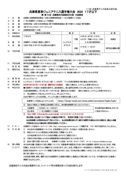 夏季ジュニアU17大会要項改