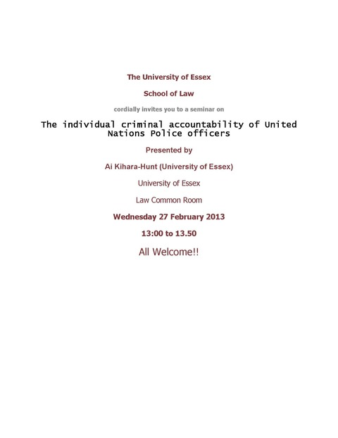 The University of Essex Seminar