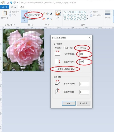 ペイントソフトで正方形のjpeg画像を作る