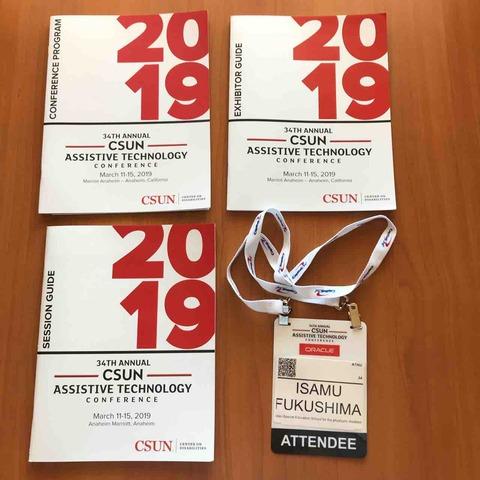 CSUN Conferenceの資料と名札