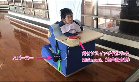姿勢保持具を載せたDonDonIkooに乗る子ども