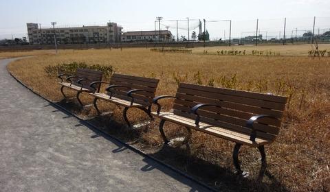 国分川調整池緑地のベンチ2