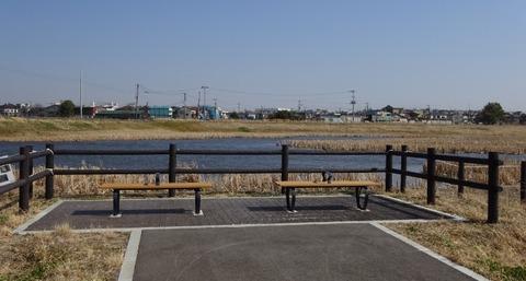 国分川調整池緑地のベンチ
