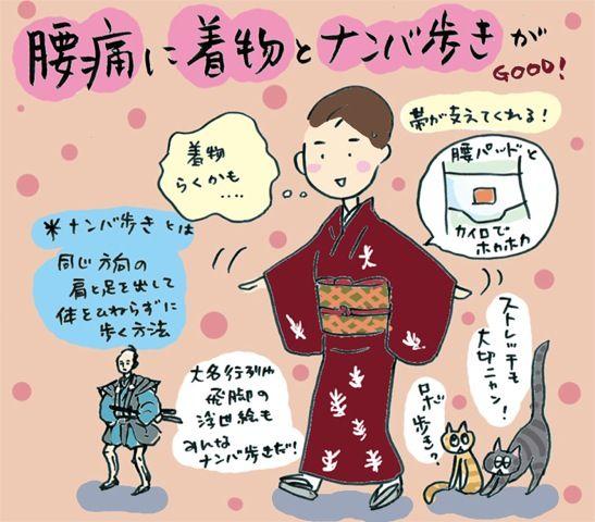 腰痛に着物&ナンバ歩き☆の巻~着物大好きコミックエッセイスト ほしわにこ連載コラム「オトナの着物生活」