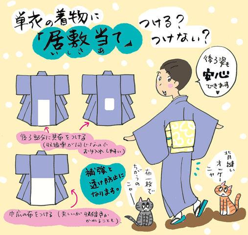単衣の着物に「居敷当て」つける?つけない?の巻~着物大好きコミックエッセイスト ほしわにこ連載コラム「オトナの着物生活」