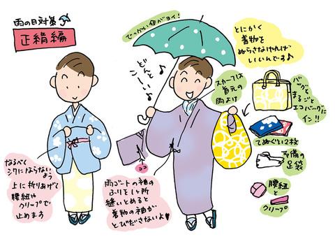 正絹着物でもできる雨の日対策-着物大好きコミックエッセイスト ほし わにこ連載コラム「オトナの着物生活」