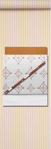 米沢織りコーディネート。帯に注目!