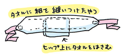 100均のロング温泉タオルで簡単ウエスト補整の巻 ~着物大好きコミックエッセイスト ほしわにこ連載コラム「オトナの着物生活」