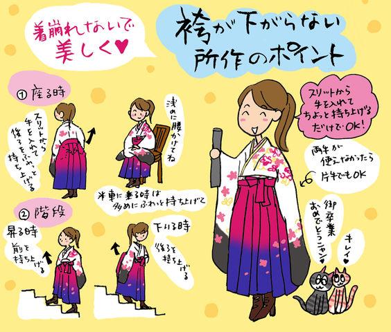 袴姿で美しく。座る時にはふわっと持ち上げて☆の巻 ~着物大好きコミックエッセイスト ほしわにこ連載コラム「オトナの着物生活」