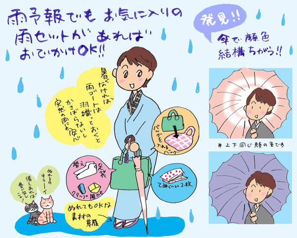 顔うつりのいい傘とコートで雨の日のおでかけを楽しく♪ の巻 ~ 着物大好きコミックエッセイスト ほし わにこ連載コラム「オトナの着物生活」~