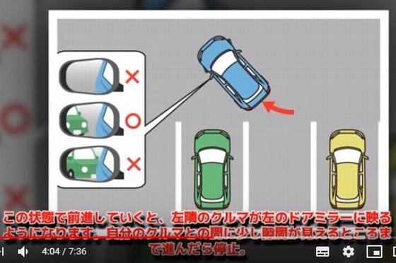 車を傾ける角度のサイドミラーによる判断