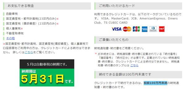 東京都クレジットカード納付