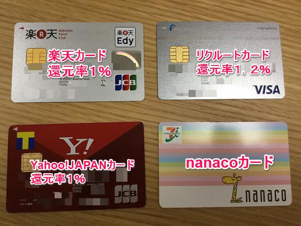 nanacoチャージでポイントが貯まるカード