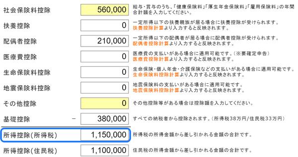 チェック 所得控除の額の合計額