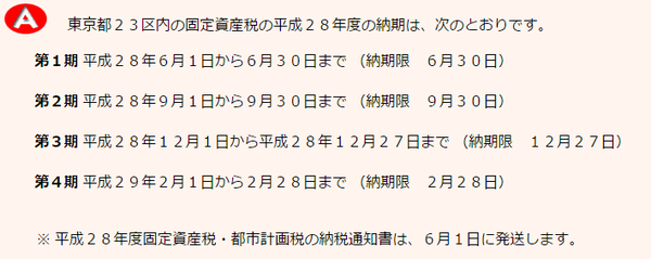 東京都 固定資産税納期限