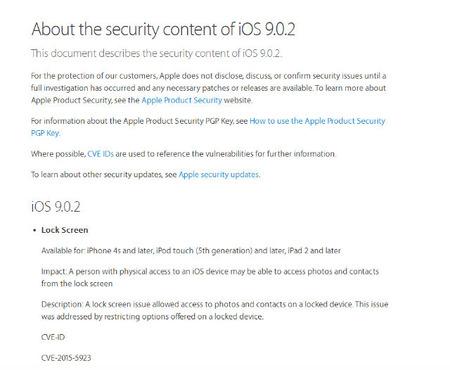 Apple、本日リリースした「iOS 9.0.2」でパスコードロックを回避して連絡先にアクセスできるバグなどを修正