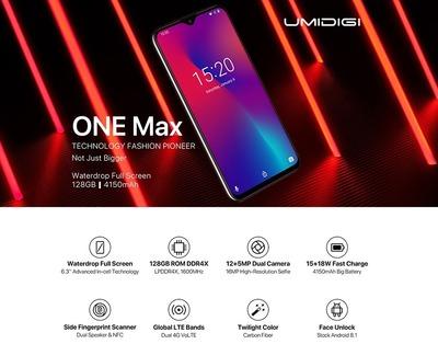 UMIDIGI、「One Max」を約180ドルで予約受付。水滴ノッチ・Helio P23搭載、ワイヤレス充電対応