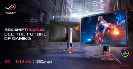 ASUS、27インチ・4Kゲーミングモニタ「ROG Swift PG27UQ」を6月に発売。DisplayHDR 1000と144Hz G-Syncに対応