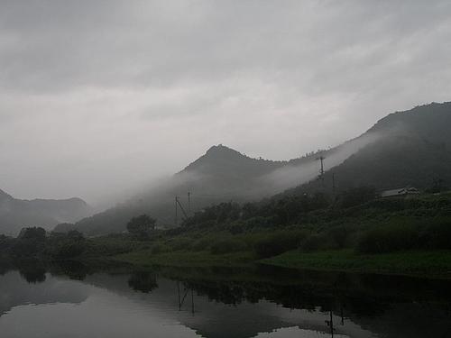霧の千丈寺湖(青野ダム)