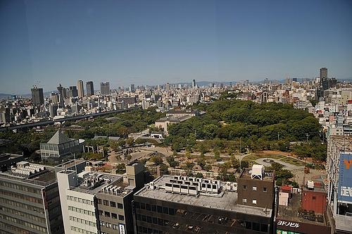 あべのルシアス15階からの天王寺周辺の眺め