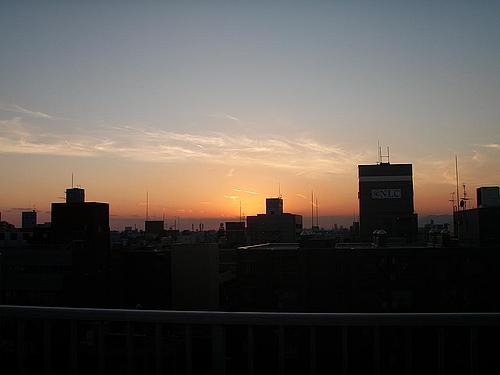 大阪のビジネス街の夕焼け 10