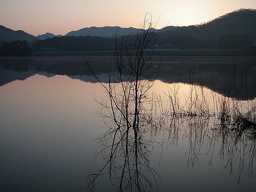夜明け前の湖面