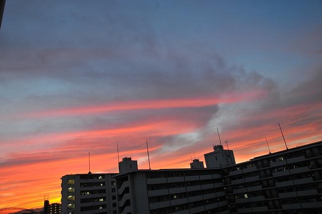 横縞な夕焼け