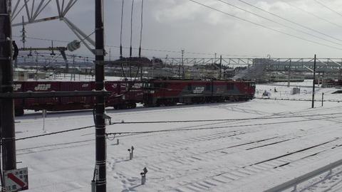 東北本線小牛田構内画像8EH500雪景色