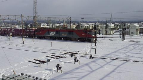 東北本線小牛田構内画像7EH500雪景色