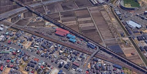 貨物線、東仙台信号所駅上空写真1