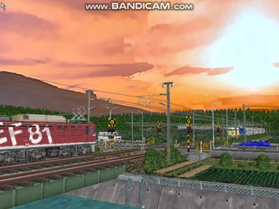 VRM3版気越河東北本線越河踏切背景9スッキリ夕焼け太陽