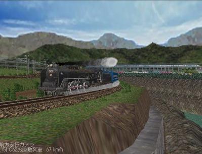 越河レイアウト見張線C62お座敷列車編成1