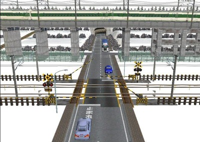 仮想日本海縦幹線雪景色踏切A6