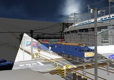 仮想日本海縦幹線雪景色月明かり踏切通過3