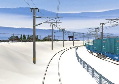 仮想日本海縦幹線雪景色春霞4