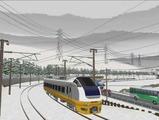 奥中山大カーブ冬景色E653系4黄色