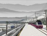 奥中山大カーブ冬景色E653系6赤色