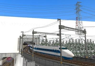 仮想日本海縦幹線雪景色トンネル新幹線7下り