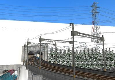仮想日本海縦幹線雪景色トンネル新幹線5下り