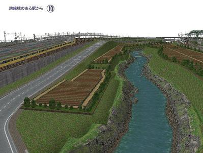 5編成並走スタジアム跨線橋がある駅ホームホーム10
