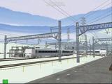 北の貨物駅通過中683系0番3