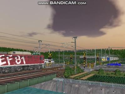 VRM3版気越河東北本線越河踏切背景5夕暮れくもり空