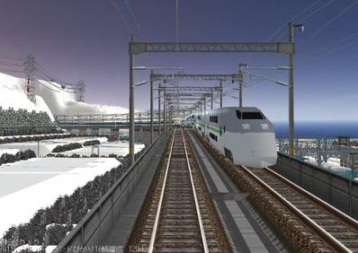 仮想日本海縦幹線雪景色夜明け前E1MAX系1